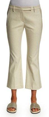 Brunello Cucinelli Flare-Leg Cropped Tuxedo Pants, Butter $1,075 thestylecure.com