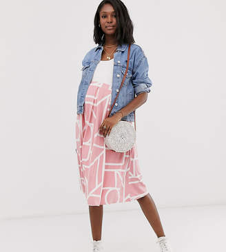 6b7e55020 Asos DESIGN Maternity box pleat midi skirt in abstract print