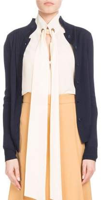 Chloé Scallop-Front Collared Cardigan