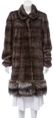 Pologeorgis Fox Fur-Trimmed Mink Jacket