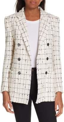 Rebecca Taylor Windowpane Plaid Tweed Double-Breasted Blazer