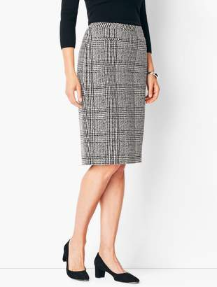 Talbots Textured Ponte Houndstooth Pencil Skirt