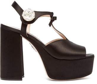 Miu Miu T Bar Satin Platform Sandals - Womens - Black