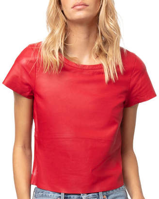 Diane von Furstenberg AS by New Guard Cropped Leather Tee