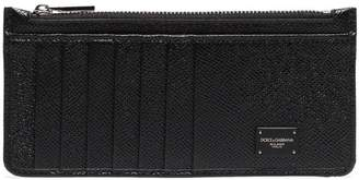 Dolce & Gabbana black logo plaque grained leather zip cardholder