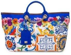 Dolce & Gabbana Maiolica Canvas Shopping Tote