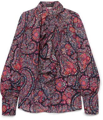 Etro Ruffled Printed Silk Crepe De Chine Blouse - Purple