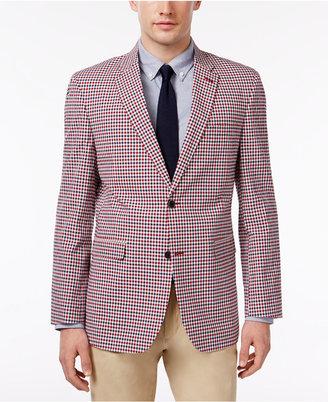 Tommy Hilfiger Men's Slim-Fit Red and Blue Gingham Sport Coat $295 thestylecure.com