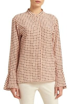 Donna Karan Polka Dot Bell Sleeve Blouse