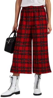 Comme des Garcons Women's Plaid Wool Crop Pants - Red