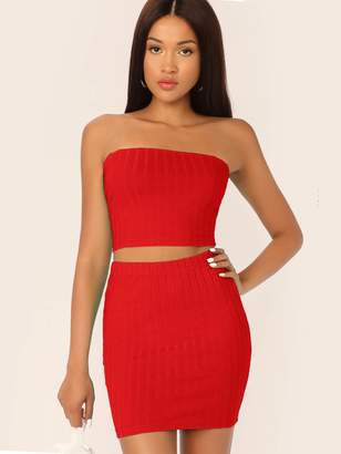 Shein Solid Tube Top & Skinny Skirt Set
