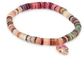 Sydney Evan Small Sugar Skull Emerald& Rainbow Heishi Beaded Bracelet