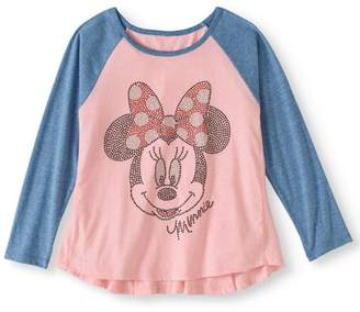 Minnie Mouse Girls' Rhinestud Raglan Long Sleeve Graphic T-Shirt