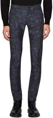 Burberry Skinny-Fit Floral Jacquard Jeans