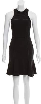 Yigal Azrouel Leather-Trimmed A-Line Dress