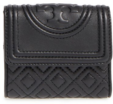Tory Burch Women's Tory Burch 'Mini Fleming' Quilted Lambskin Leather Wallet - Black