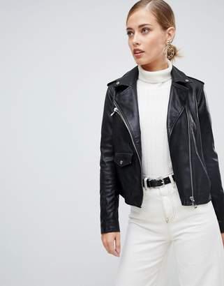Whistles Agnes pocket leather biker jacket