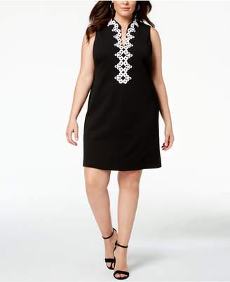 Jessica Howard Plus Size Embroidered-Trim Dress