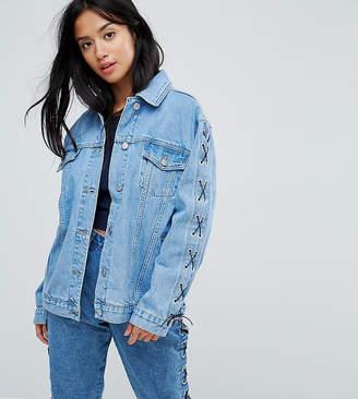 Chorus Petite Lace Up Sleeves Oversized Denim Jacket