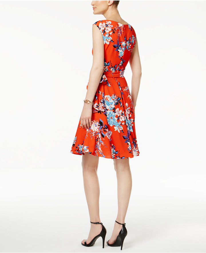 Tahari ASL Floral-Print A Line Dress 2