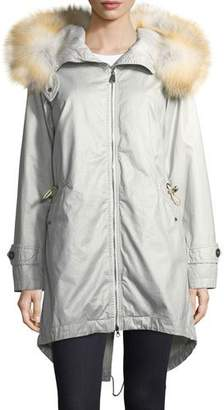 Peuterey Statics Distressed Long-Sleeve Anorak Jacket w/ Fur Trim