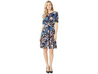 London Times Printed Ponte with Fit Flare Dress