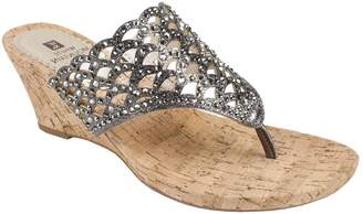 White Mountain Metallic Wedge Thong Sandals - Archie