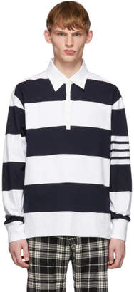 Thom Browne Navy and White Rugby Stripe Polo