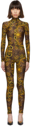 Versace Brown and Yellow Leopard Barocco Catsuit