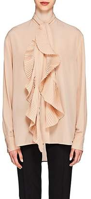 Givenchy Women's Pleated-Tieneck Silk Blouse - Blush