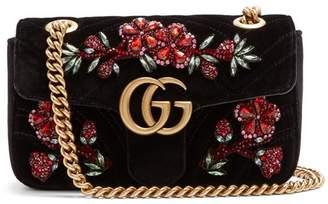 Gucci - Gg Marmont Mini Quilted Velvet Cross Body Bag - Womens - Black Multi