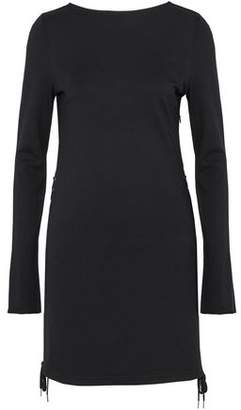 McQ Lace-Up Stretch-Knit Mini Dress