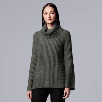 Vera Wang Women's Simply Vera Ribbed Cowlneck Tunic Sweater