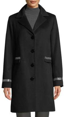 Sofia Cashmere Single-Breasted Car Coat w/ Metallic Details