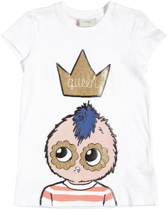 Fendi Glittered Logo Print Jersey T-Shirt