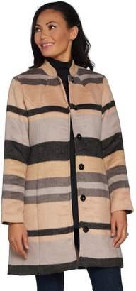 Isaac Mizrahi Live! Brushed Engineered Stripe Snap Front Coat