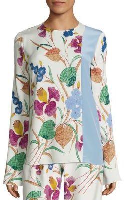 Diane von Furstenberg Floral Print Silk-Blend Blouse $298 thestylecure.com