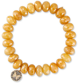 Sydney Evan Yellow Silverite Rondelle Bead Bracelet w/ 14k Butterfly Charm