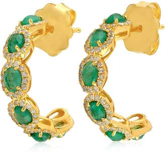 Artisan 14K Gold Emerald & Diamond Hoop Earring
