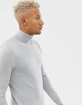 Pull&Bear roll neck sweater in gray