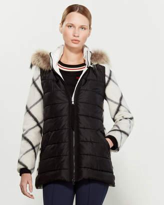 Mariella Rosati Faux Fur-Trimmed Mix Media Coat