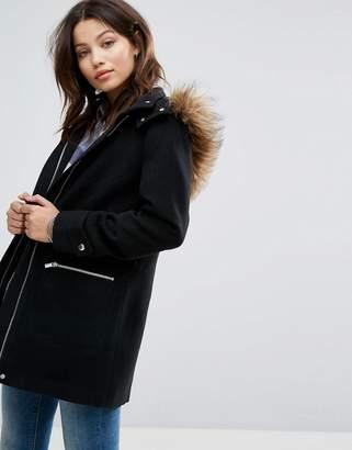 New Look Faux Fur Trim Duffle Coat