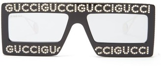 Gucci Hollywood Forever Embellished Mirrored Sunglasses - Womens - Black Silver