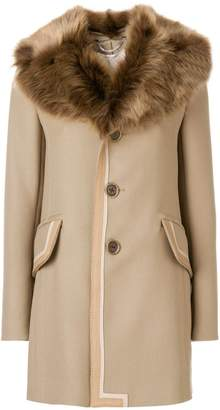 Marc Jacobs single breasted leather trim coat with fur collar