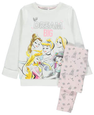 Disney Princess White Glitter Slogan Pyjamas