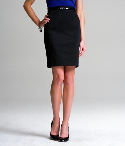 Above-The-Knee High-Waist Cotton Pencil Skirt