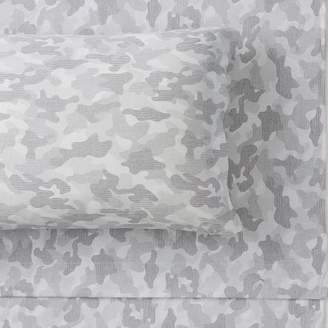 Pottery Barn Teen Essential Camo Print Jersey Sheet Set, Extra Pillowcases, Set of 2, Gray