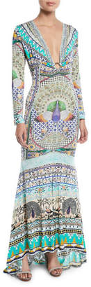 Camilla Printed Silk Long-Sleeve Maxi Dress