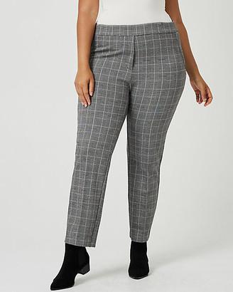 Le Château Check Print Double Knit Slim Leg Pant