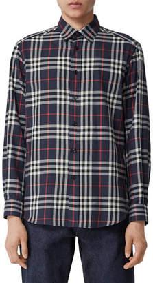Burberry Men's Chambers Check Flannel Sport Shirt, Navy